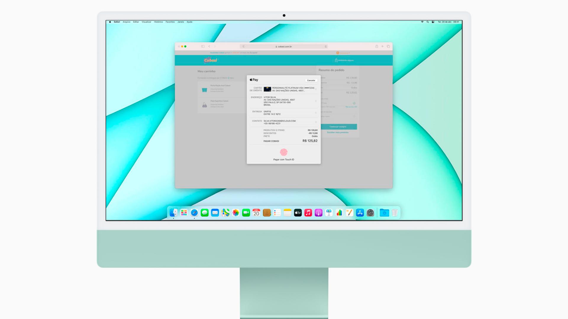 A tela do iMac também comporta todos os componentes (Foto: Reprodução/Apple)