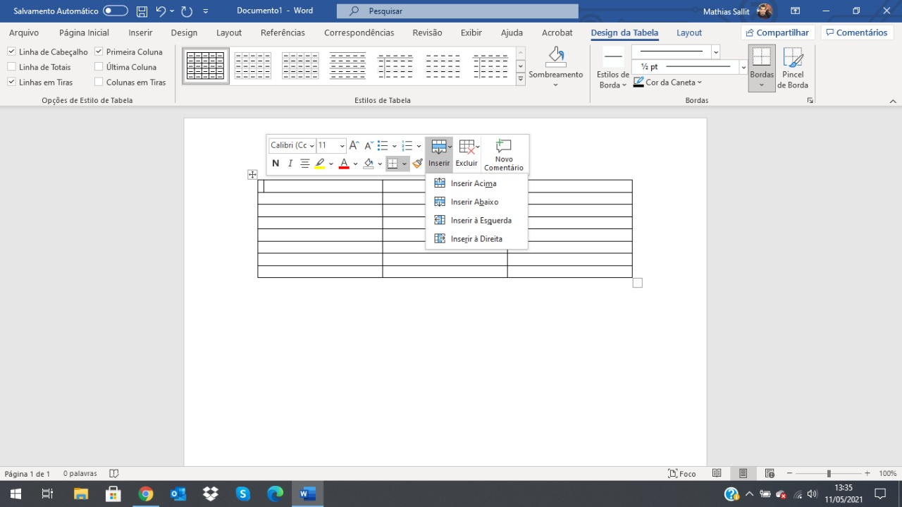 Como fazer tabela no Word