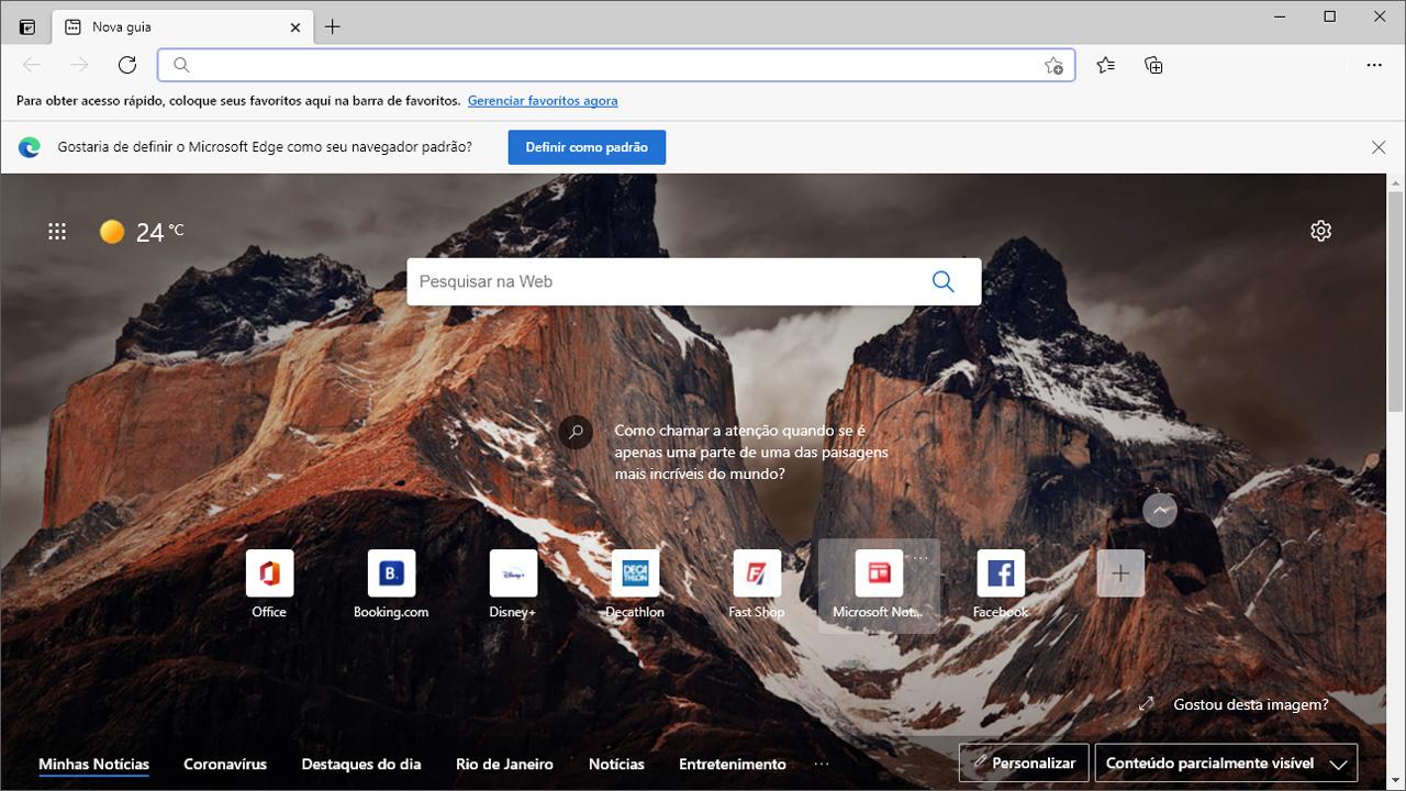 O Microsoft Edge é o navegador padrão do Windows e oferece boa velocidade e performance com base na plataforma Chromium, a mesma do Google Chrome (Reprodução: Redação Zoom)