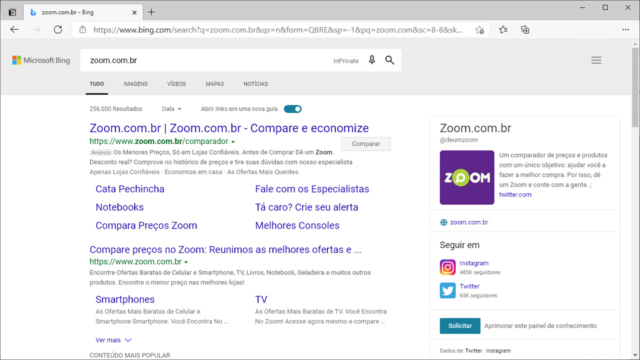 Por padrão, o Edge utilizar o buscador Bing da Microsoft, mas usuários podem mudar essa definição nas configurações (Reprodução: Redação Zoom)
