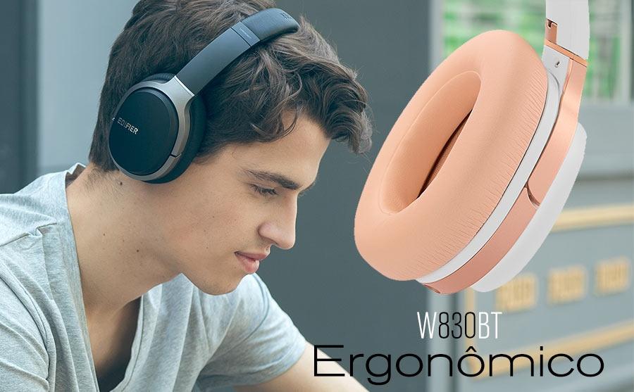 Fone Edifier W830BT tem design ergonômico. (Foto: Divulgação / Edifier.)