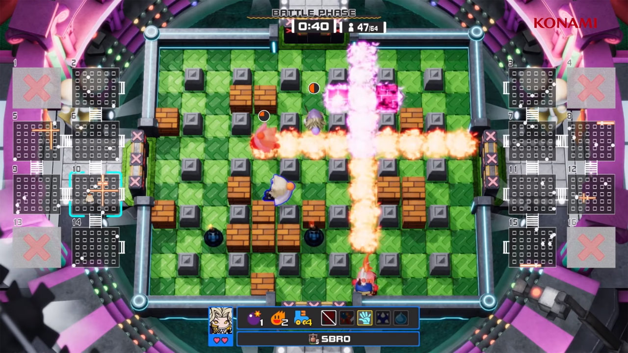 Super Bomberman R Online traz disputas nos moldes do clássico multiplayer da série em um novo formato Battle Royale com 64 jogadores (Fonte: Divulgação/Konami)